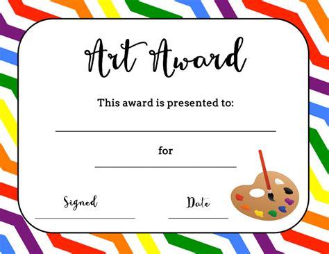 Printable Art Certificates and Art Award Templates
