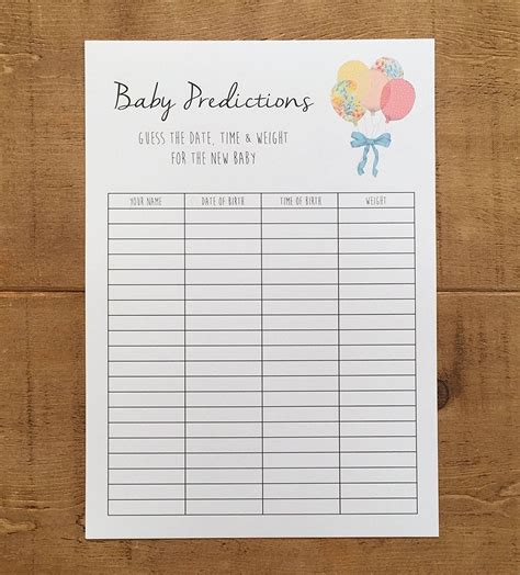 Printable Baby Shower Games Guess Baby s Stats From