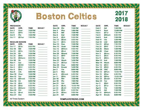 Printable Boston Celtics Schedule 2017 2018