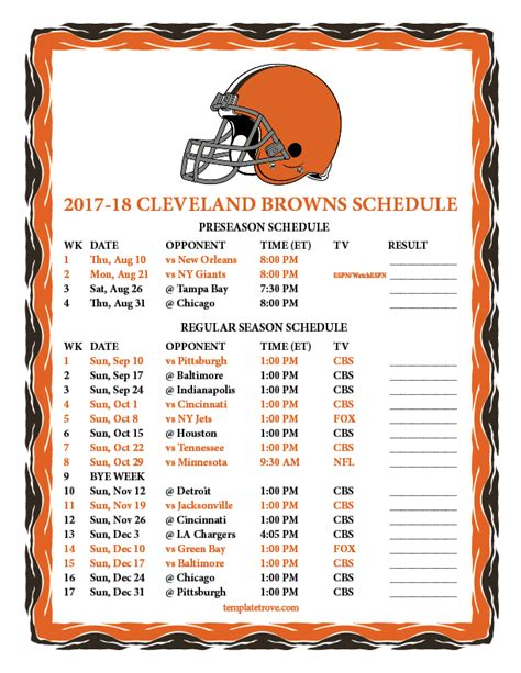 Printable Cleveland Browns Schedule 2017 Season