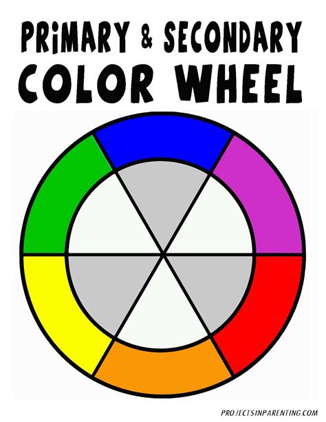Printable Color Wheel Primary Secondary Colors Colours