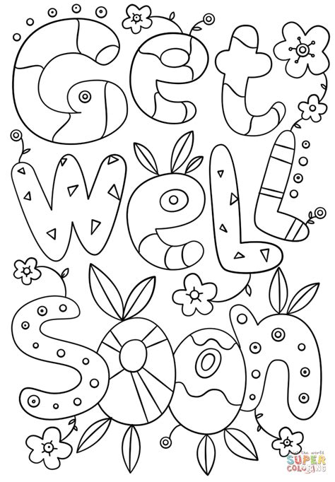 Printable Get Well Soon Colouring Pages free for kids