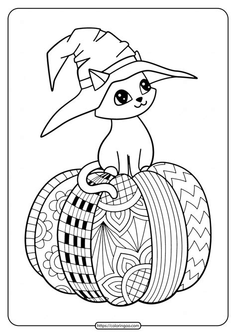 Printable Halloween Coloring Pages Cat on Pumpkin Color