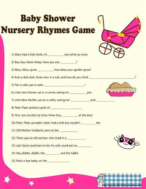 Printable Nursery Rhyme Quiz eBabyShowerGames