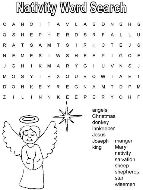 Printable Religious Christian Christmas Word Search Game