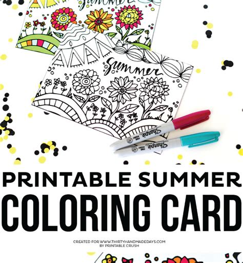 Printable Summer Coloring Card Thirty Handmade Days