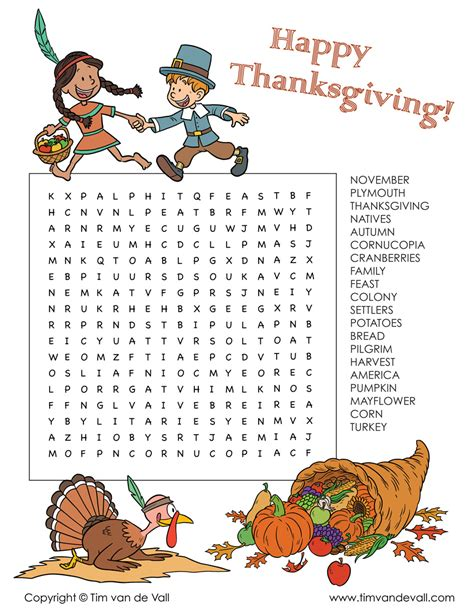 Printable Thanksgiving Word Search Printables for Kids