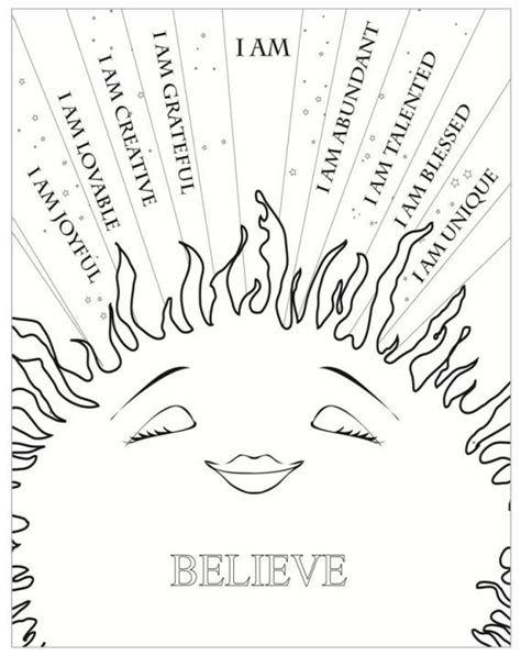 Printable yoga sheets affirmations and coloring pages