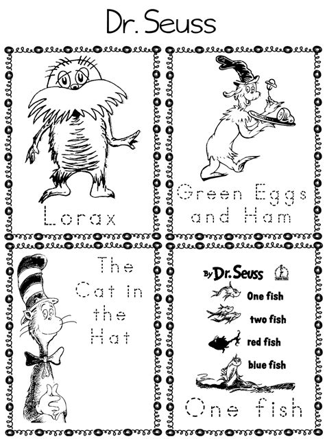 Printables Worksheets for a Dr Seuss Theme A to Z