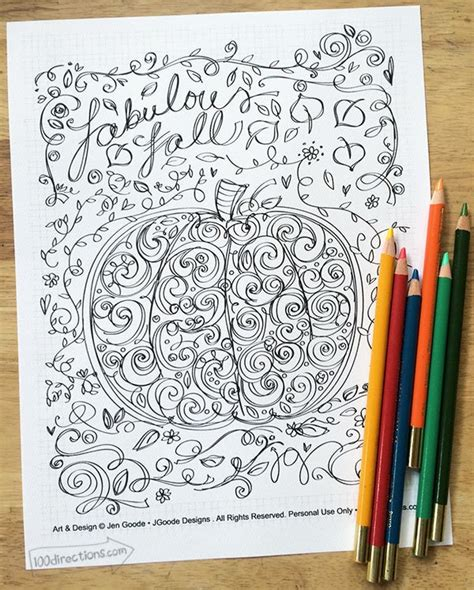 Pumpkin Coloring Page for Fall 100 Directions