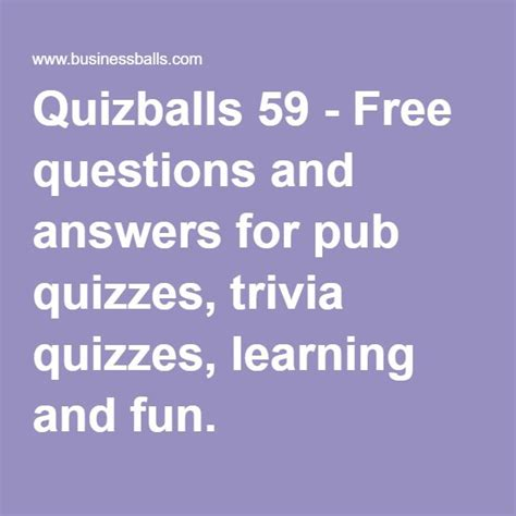 Quizballs 136 Free questions and answers for pub quizzes