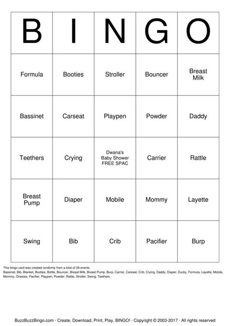 Read and Download Baby Shower Bingo Cards Printable