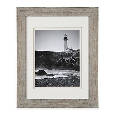 Real Simple Wood Portrait Frame in Grey Wash with White