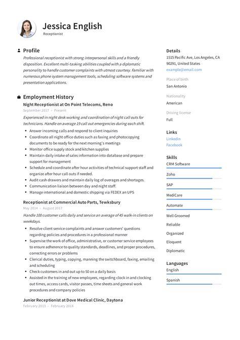 Receptionist Resume Sample Resume for Receptionists