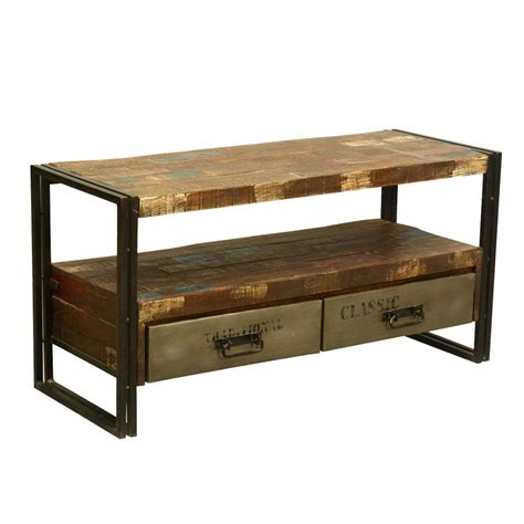 Reclaimed Wood Graffiti Media Console Industrial