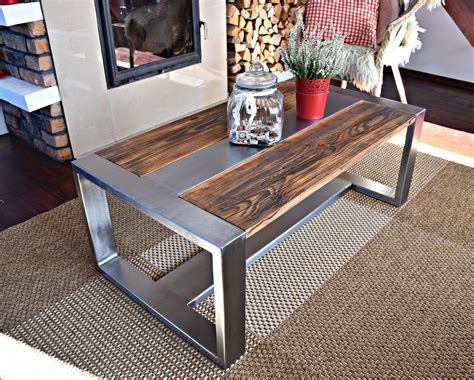 Reclaimed wood and metal coffee table Etsy