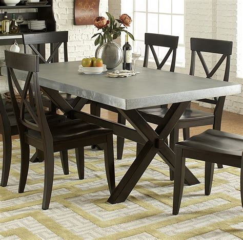 Rectangular Dining Table Wood and Metal Mobler Furniture