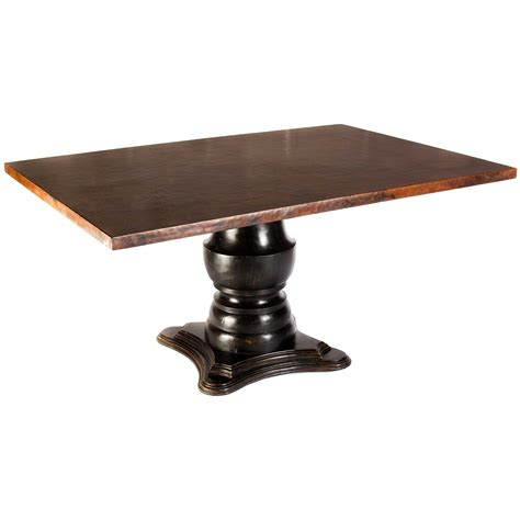 Rectangular Wooden Dining Table With Copper Top Dining