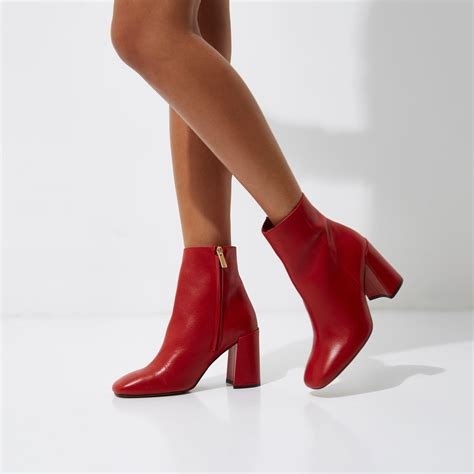 Red leather block heel ankle boots Boots Shoes Boots