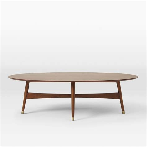 Reeve Mid Century Oval Coffee Table Pecan west elm