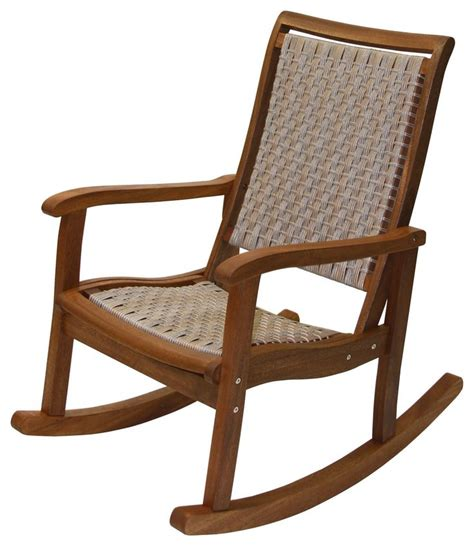 Resin Wicker and Eucalyptus Rocker Chair Tropical