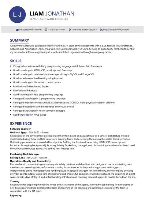 Resume Senior Software Engineer Free Resume Samples