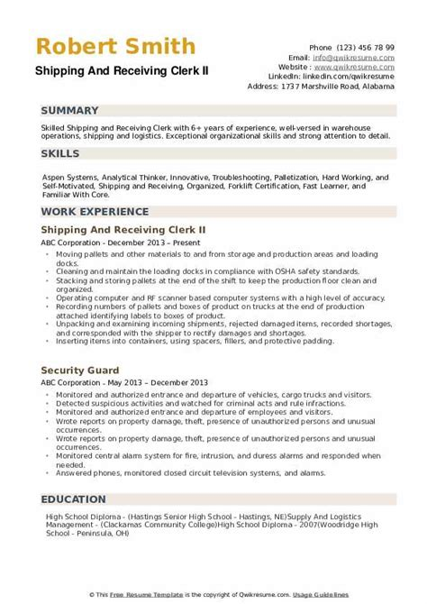 Inventory Clerk Resume Cover Letter Sample Templates Shipping Receiving