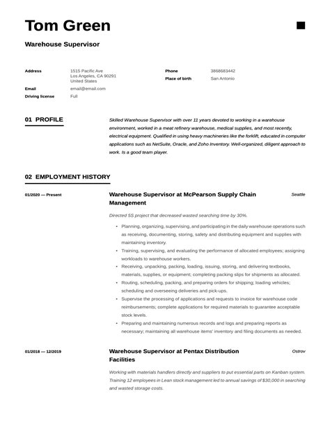 Resume examples CV examples Alec