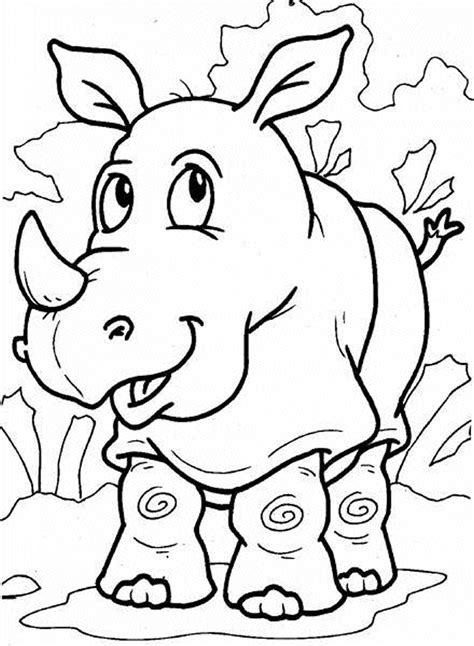 Rhinoceros rhino coloring pages Zoo animals