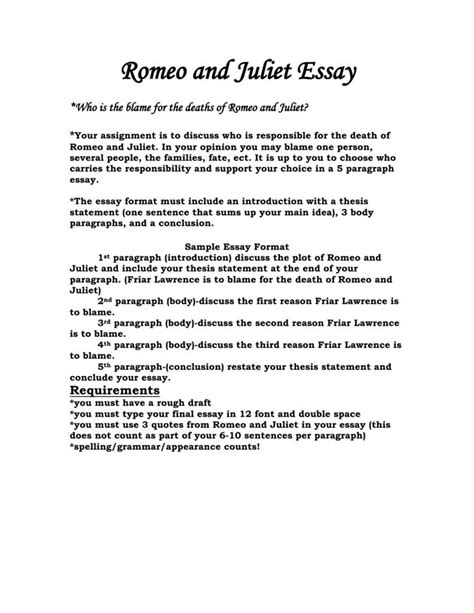 romeo and juliet essay outline essay for romeo and juliet romeo  essay for romeo and julietintroduction to romeo and juliet essay on love essay topics romeo juliet
