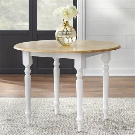 Round Drop Leaf Dining Table White Natural Walmart