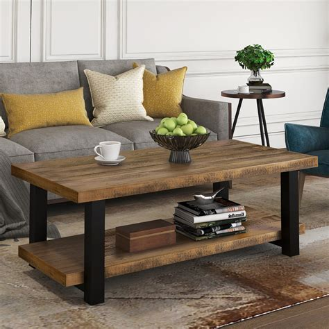Rustic Living Room Furniture Wood and Metal Coffee Table