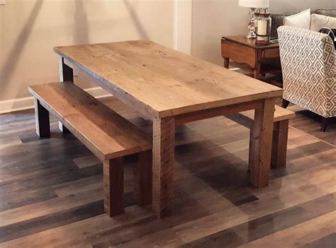 Rustic Reclaimed Wood Farmhouse Dining Tables and Benches