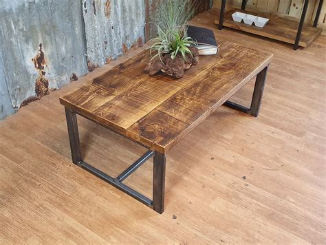 Rustic Wood Coffee Tables Handmade from Solid Oak Planks