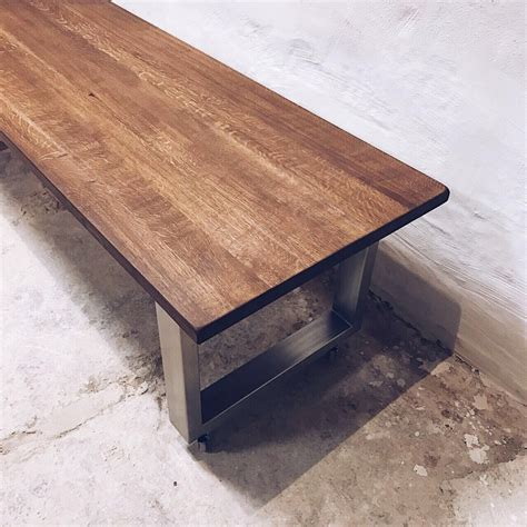 SHIPWOOD DINING TABLE WITH STAINLESS STEEL LEGS