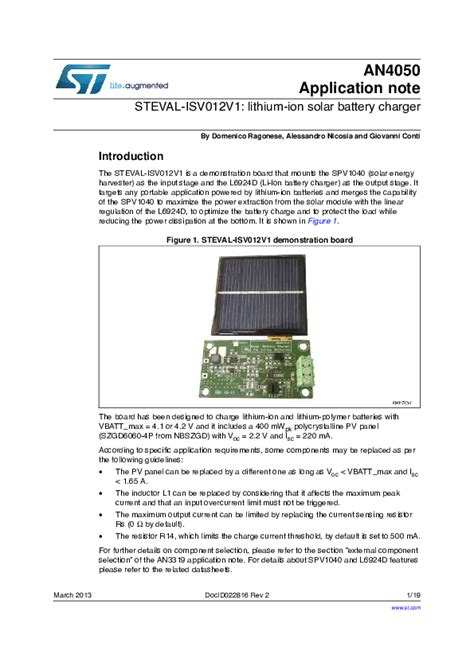 solar charger circuit diagram for battery images boat wiring steval isv012v1 lithium ion solar battery charger