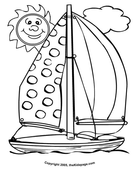 Sailboat Sunny Day Free Coloring Pages for Kids