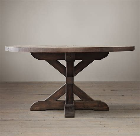 Salvaged Wood X Base Round Dining Table RH Homepage