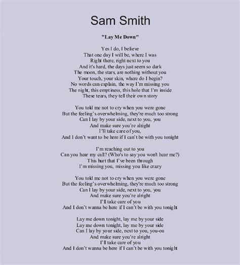 Sam Smith Lyrics Lay Me Down
