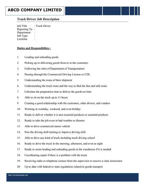 Sample Driver Job Description Absolute HR Solutions