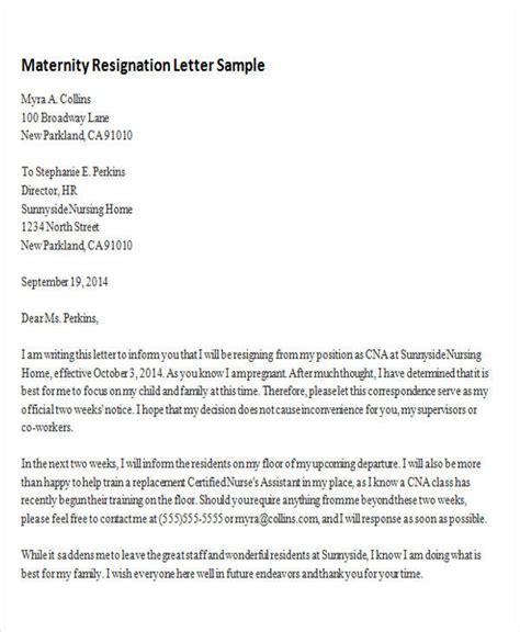 sample maternity resignation letter resignation following