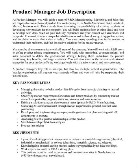 Sample Product Manager Job Description Pragmatic Marketing
