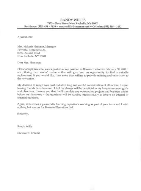 Sample Resignation Letter Cando Career