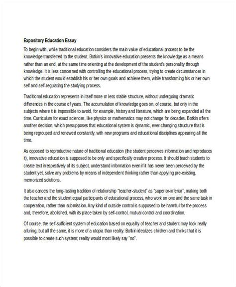 Sample of Expository Essay on Education Essay Writing