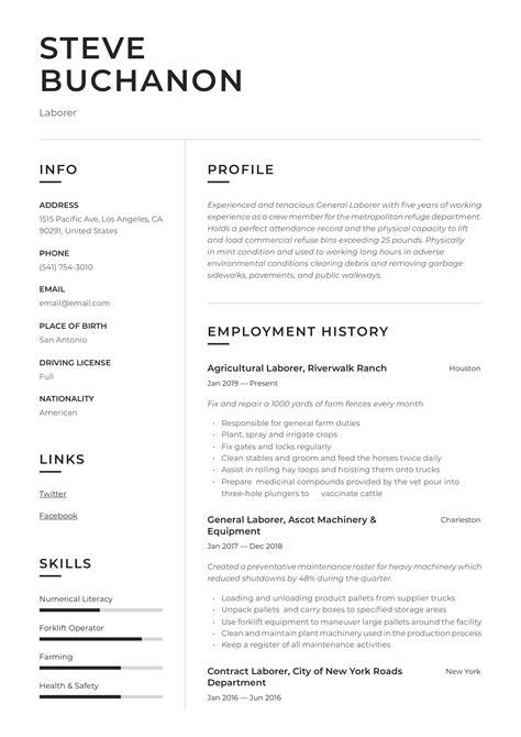 Sample of General Laborer Resume Example resumes