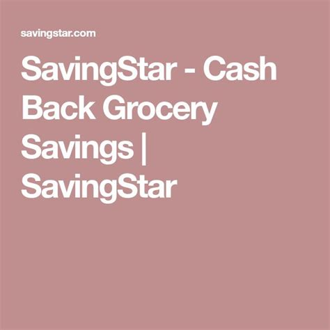 SavingStar Cash Back Grocery Savings SavingStar