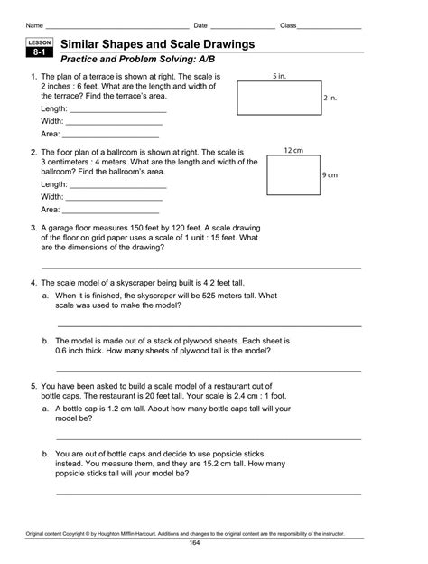 Scale Drawing Worksheet Problems Solutions