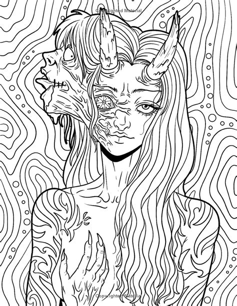 Scary coloring page Etsy