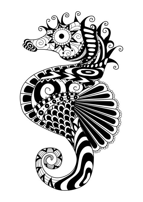 Sea Horse Zentangle coloring page Free Printable