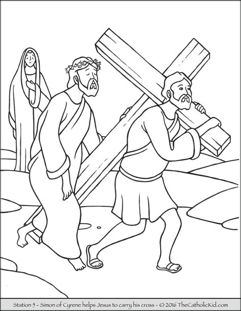 Second Station Jesus Carries His Cross coloring page